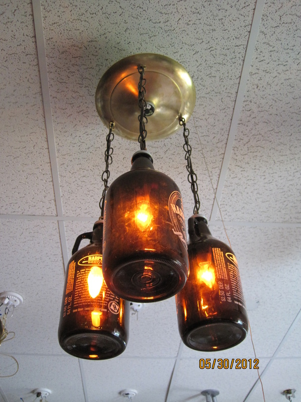 Brewery chic decorating ideas for beer lovers vermont - Beer bottle light fixture ...